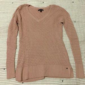 🌼 Pink AEO Waffle Knit V Neck Sweater